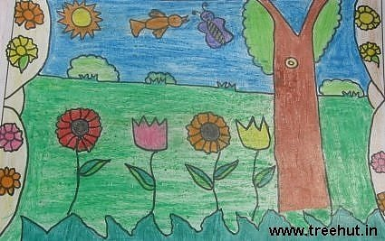 kids artwork garden by Ritika Rao Lucknow India Study Hall school