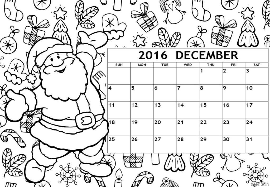 December 2016 Calendar Coloring Page Free Printable