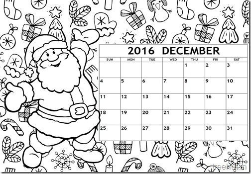 Free Printable December 2016 Calendar Coloring Page