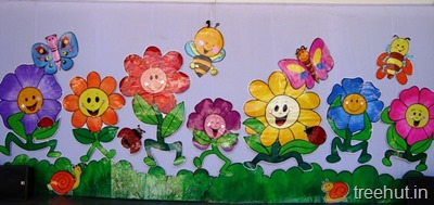 School Stage Decoration Flowers Backdrop