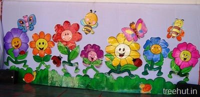 school stage scenic flowers decoration backdrop