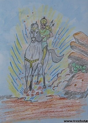 wax resist style child art indian man on horseback by Angad Misra