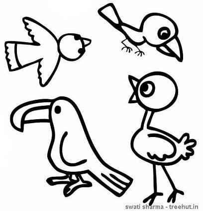 hornbill and birds coloring page