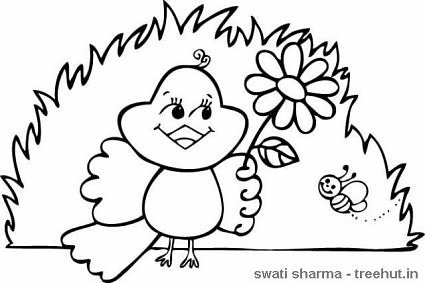 spring bird coloring page