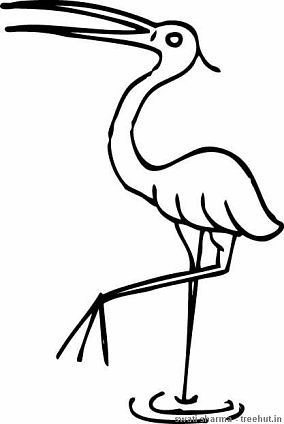 stork coloring page bird india