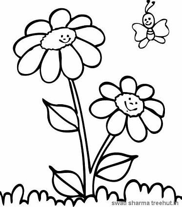 daisies and butterfly coloring page