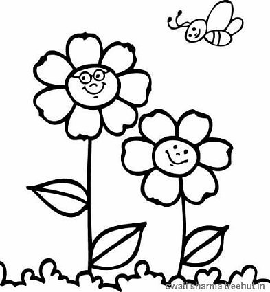 flowers and honey bee coloring page
