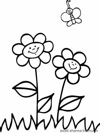 save nature flowers and butterfly coloring page