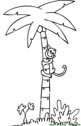 stunning coconut tree coloring ideas - printable coloring pages ... - Coloring Pages Monkeys Trees