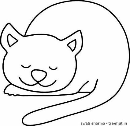 Sleeping kitten colouring page