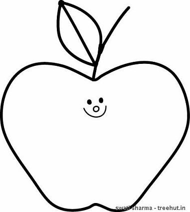 Apple colouring page line art