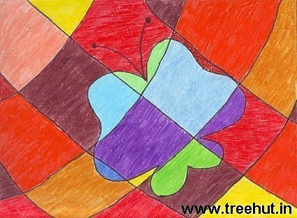 Abstract art in crayons by child Kriti Bansal Lucknow India