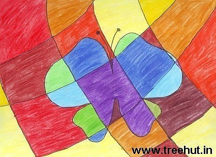Abstract art in crayons by child artist Paawani Srivastava Study Hall school Lucknow India