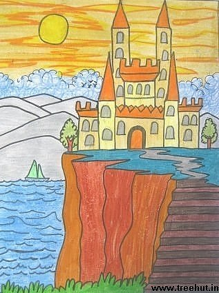 Castle in crayons by child artist Yashonidhi