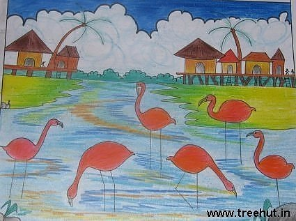 Flamingoes in art by Yashonidhi