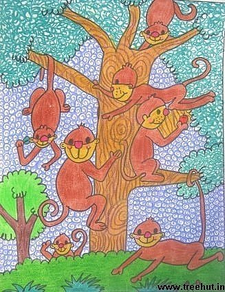 Monkeys in crayon artwork by child Yashonidhi