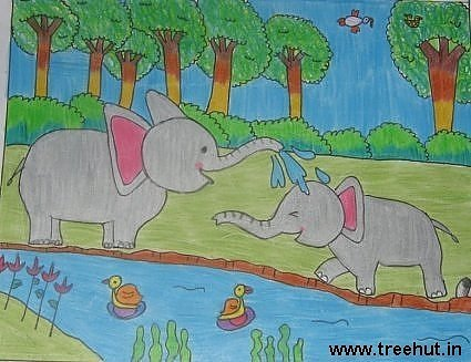 Elephants in jungle child art by Nikita Khanna Lucknow