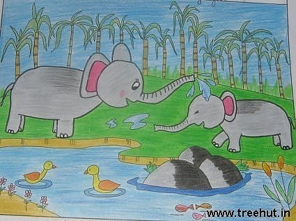 Elephants playing child art by Avantika Kalra Study Hall Lucknow India