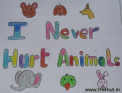 I never hurt animals Child art by Rohin Srivastav Study Hall school Lucknow India
