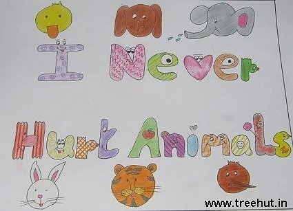 I never hurt animals Child art ideas by Avantika Kalra Study Hall school Lucknow India