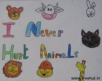 I never hurt animals Child art ideas by Siddhi Pandey Study Hall school Lucknow India