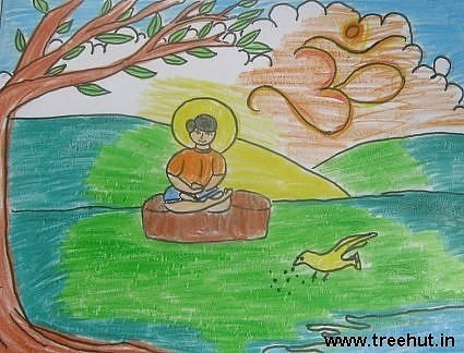 Meditation for inner peace by Rohin Srivastava child art India