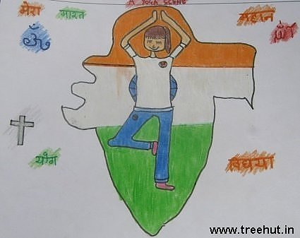 Yoga Indian Heritage Child art by Aditi Singh Study Hall school Lucknow India