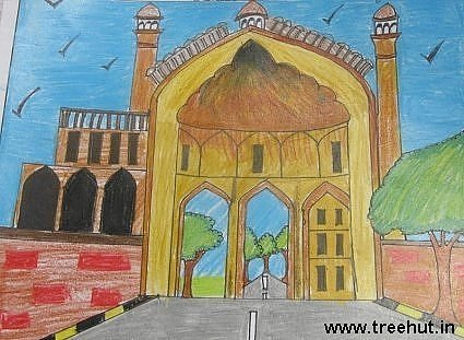 Roomi Darwaza in crayons art by child Devanshi Srivastava Lucknow
