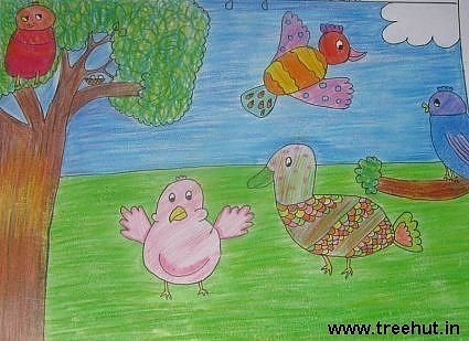 Imaginary bird in art by a child, Lucknow, India