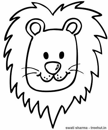 Lion face mask template coloring page