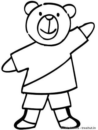 Teddy bear in T shirt coloring page