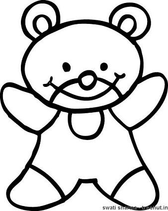 Teddy bear in romper suit coloring page