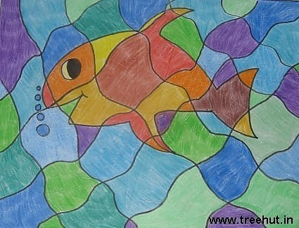 abstract fish painting by Shivani Chauhan Study Hall School Lucknow