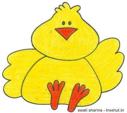 easter chick crayon kids art by swati sharma lucknow