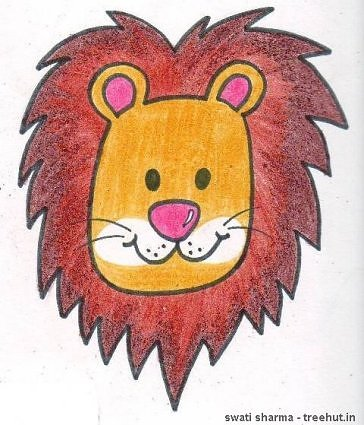 lion crayon kids art by swati sharma lucknow