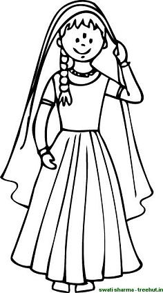 Indian girl from rajasthan in lehanga chunni and bindi coloring page