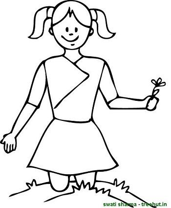 girl plucking a flower coloring page