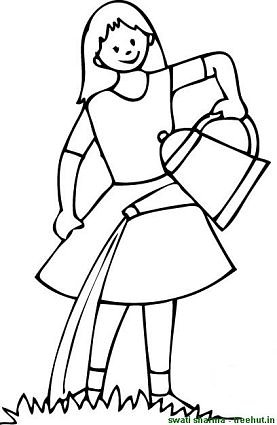 girl watering plants coloring page
