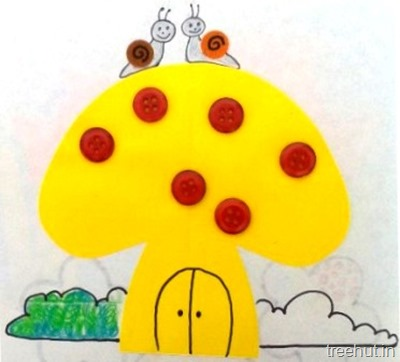 paper buttons mushroom craft for preschoolers