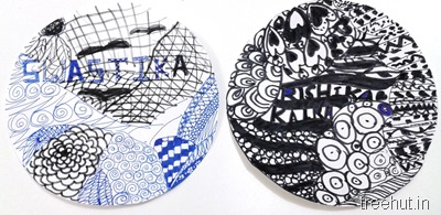 circle zentangle art by children