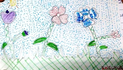 colorful-dot-art flowers La Martiniere Girls College Lucknow