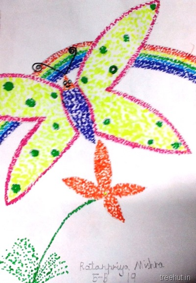 colorful-dot-art idea rainbow butterfly flower