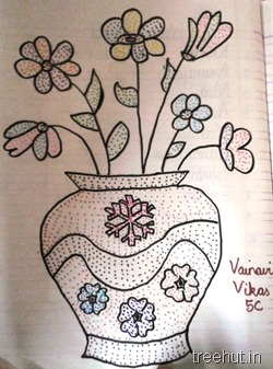 dot-art-by-kid vase La Martiniere Girls College Lucknow