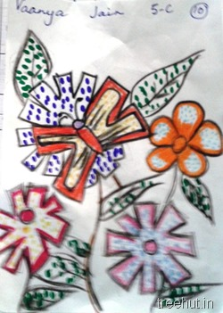 flowers dot-art-by-kids La Martiniere Girls College Lucknow