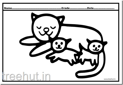 Cat and Kitten Coloring Pages (1)