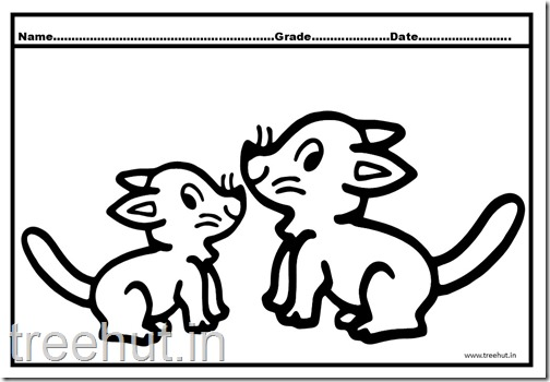 Cat and Kitten Coloring Pages (2)