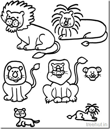 Lion and Lion Face Coloring Pages (1)