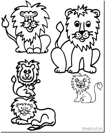 Lion and Lion Face Coloring Pages (2)