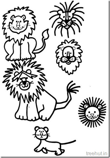 Lion and Lion Face Coloring Pages (3)