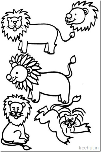 Lion and Lion Face Coloring Pages (4)